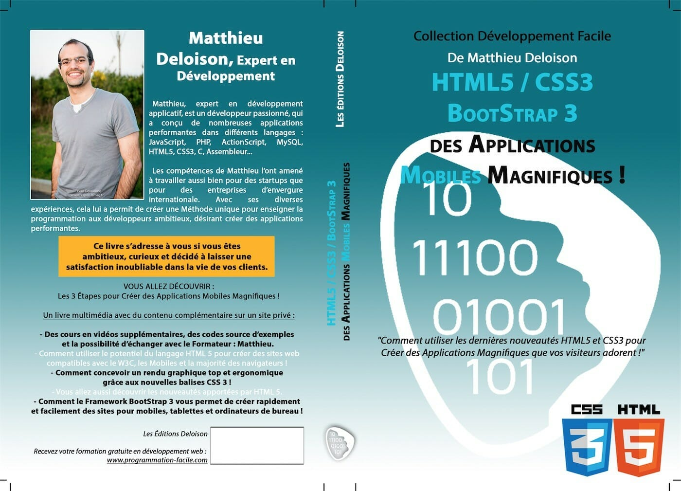 Livre HTML5 CSS3 BootStrap 3 pour Créer des Applications Mobiles !